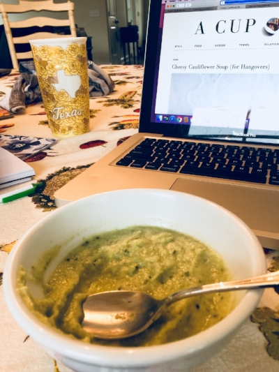 My soup turned out much greener than the soup on COJ's blog, which is fine by me.