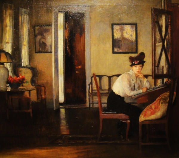 Girl Writing  - Edmund Charles Tarbell - 1917