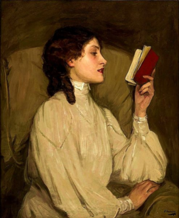 Miss Auras, The Red Book - Sir John Lavery