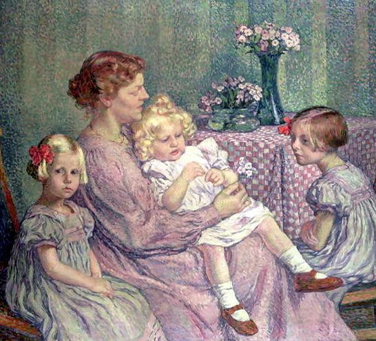 Madame Van de Velde and her Children -   Theo van Rysselberghe  , 1862-1926