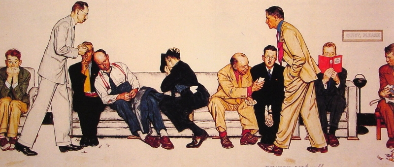 The Waiting Room at the Hospital  - Norman Rockwell