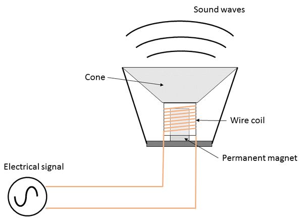 Basic speaker component diagram demonstrating the three necessary parts of a speaker: coil, cone, and magnet. Taken from: https://www.sciencebuddies.org/Files/7472/6/speaker-diagram.png