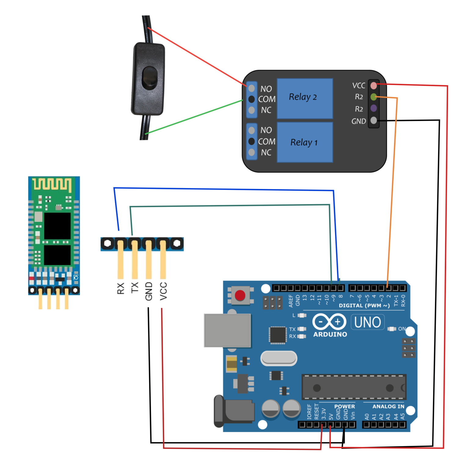 Bluetooth Home Automation Light Bulb Switch Using An Hc 05 A Relay Circuit Diagram For Controlled And Arduino Engineers Maker Portal