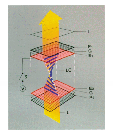 Figure 4: T wisted nematic liquid crystals rotating light to produce a bright pixel. Image courtesy of  Wikipedia  under  GNU Free Documentation License.