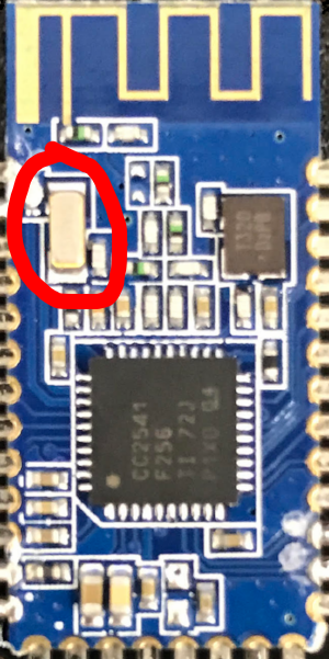 Figure 1: HM-10 Bluetooth Module. If the board you are buying does NOT contain the rectangular crystal, then it is likely a counterfeit board and may not work properly.