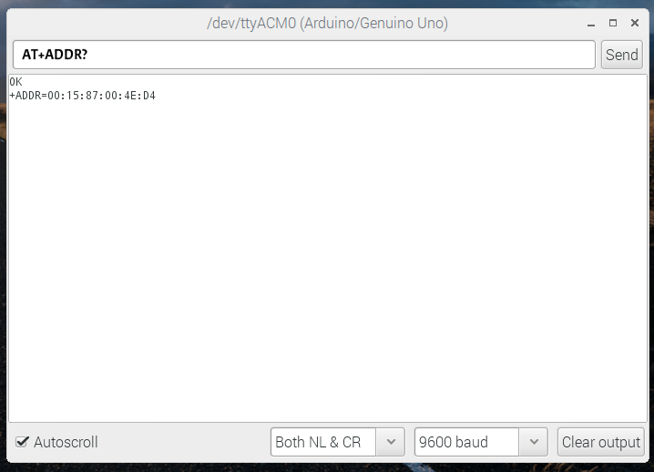 Figure 2: Screenshot showing the result of 'AT+ADDR?' in the Arduino serial monitor. You should do this for each Bluetooth module and store the values in a list either in a Python code or elsewhere.