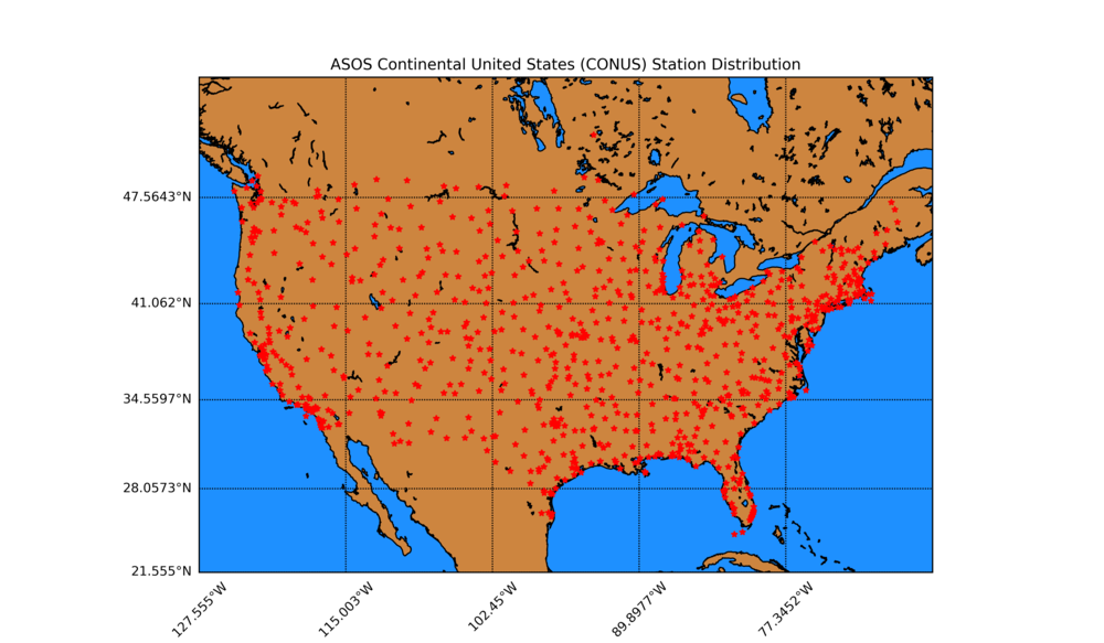 Figure 3:  ASOS stations filtered by UTC -5 to UTC -8 to view the distribution of stations in the continental U.S.