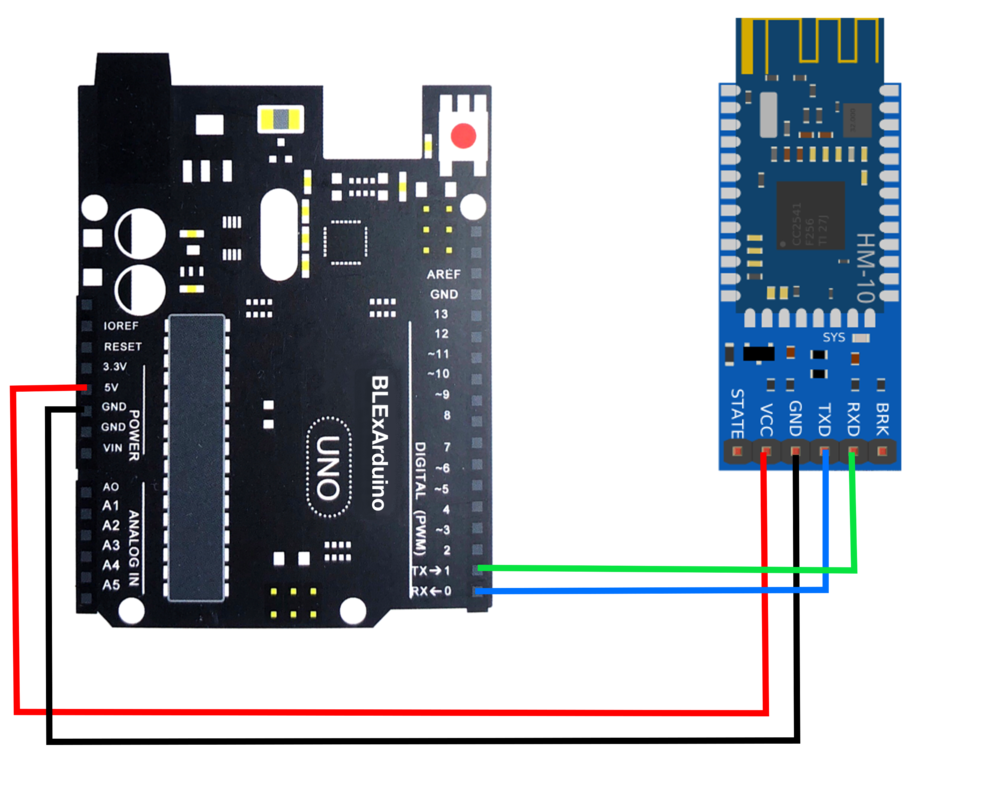 Wiring for Arduino Control using Bluetooth and iOS -