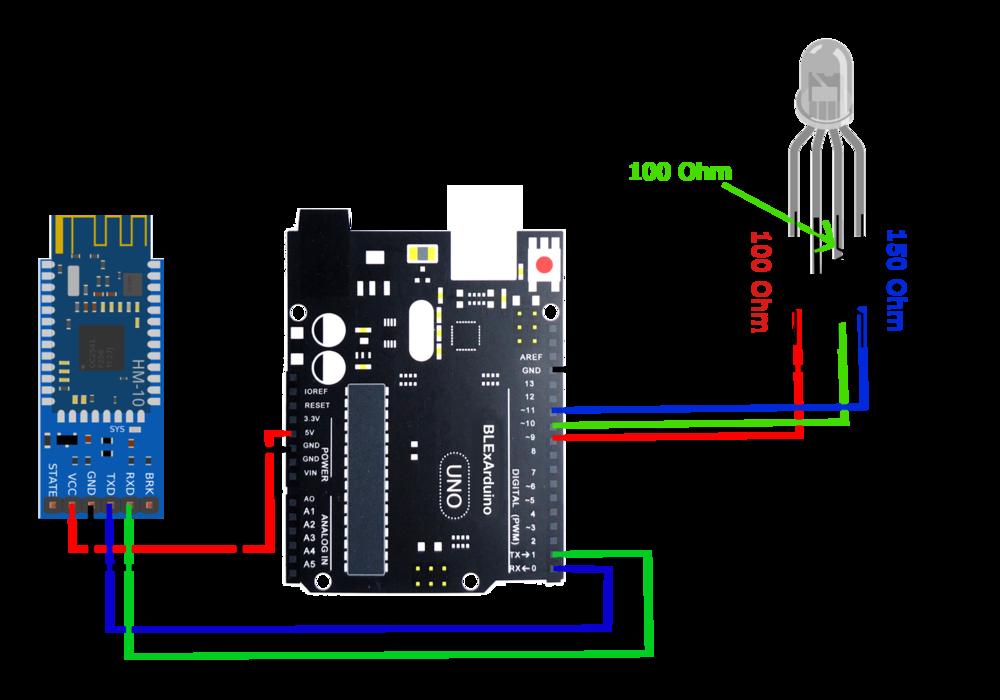 4 pin rgb led control using ios blexar app, hm 10 bluetooth module