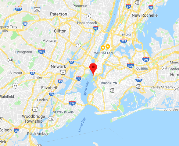 Coordinates for nearest pixel to New York City aboard the GOES-R satellite