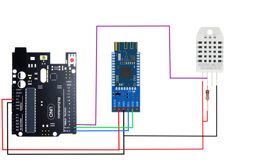 Figure 3:  Wiring diagram for Arduino Bluetooth communication between an iOS BLExAR device and the Arduino DHT-22 temperature sensor. Notice the 10k resistor acting as a pull-up resistor. This configuration will allow the Arduino to send a temperature (or humidity) data point roughly every 2 seconds.