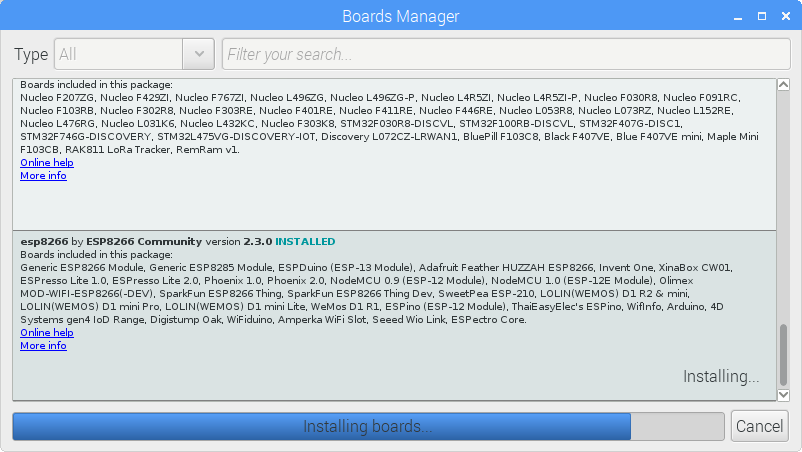 Step 3: Go to Tools-> Board -> Boards Manager… and find the new esp8266 link and install it -