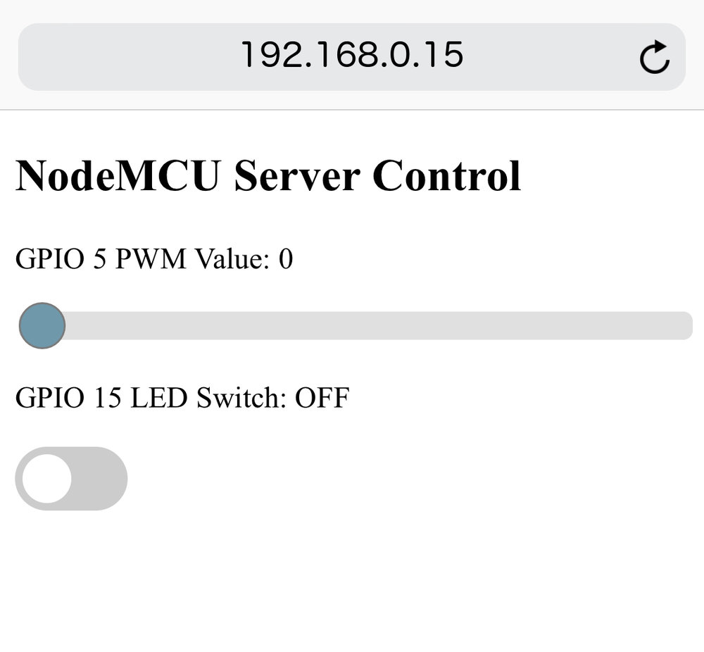 NodeMCU Arduino Server PWM and LED Switch with AJAX