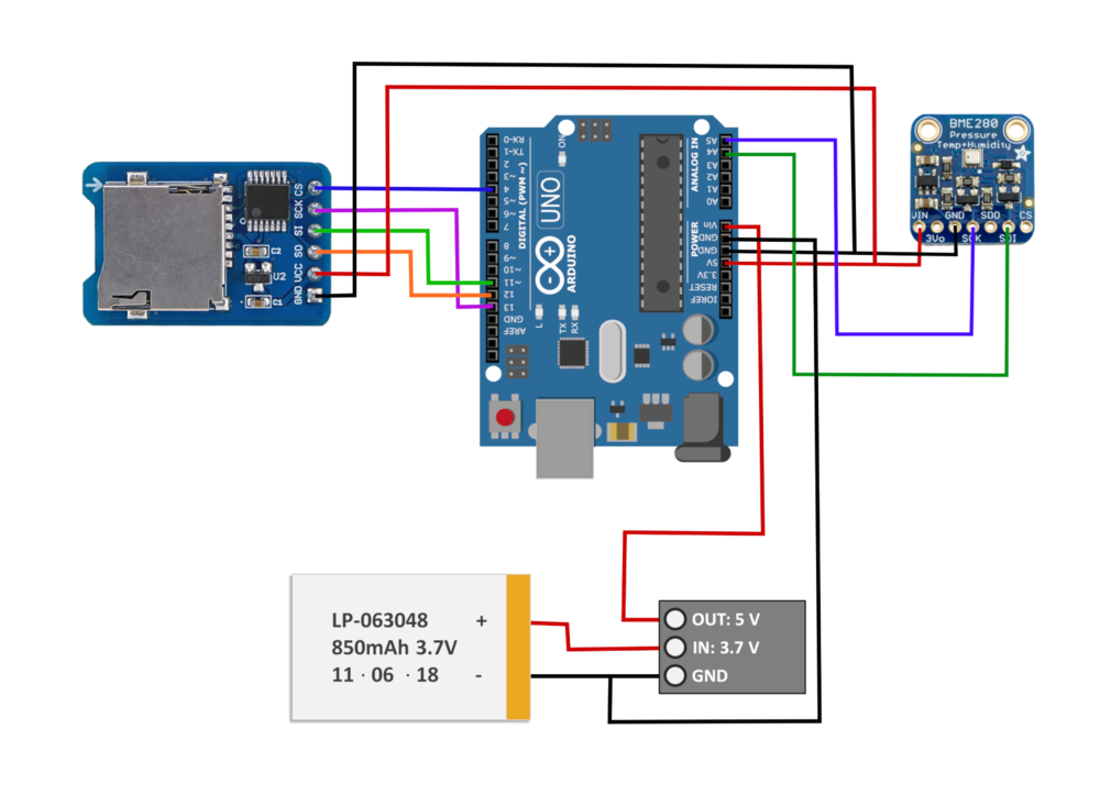 Wiring the Arduino to Battery, SD Card Module, and BME280 for Data Logging -