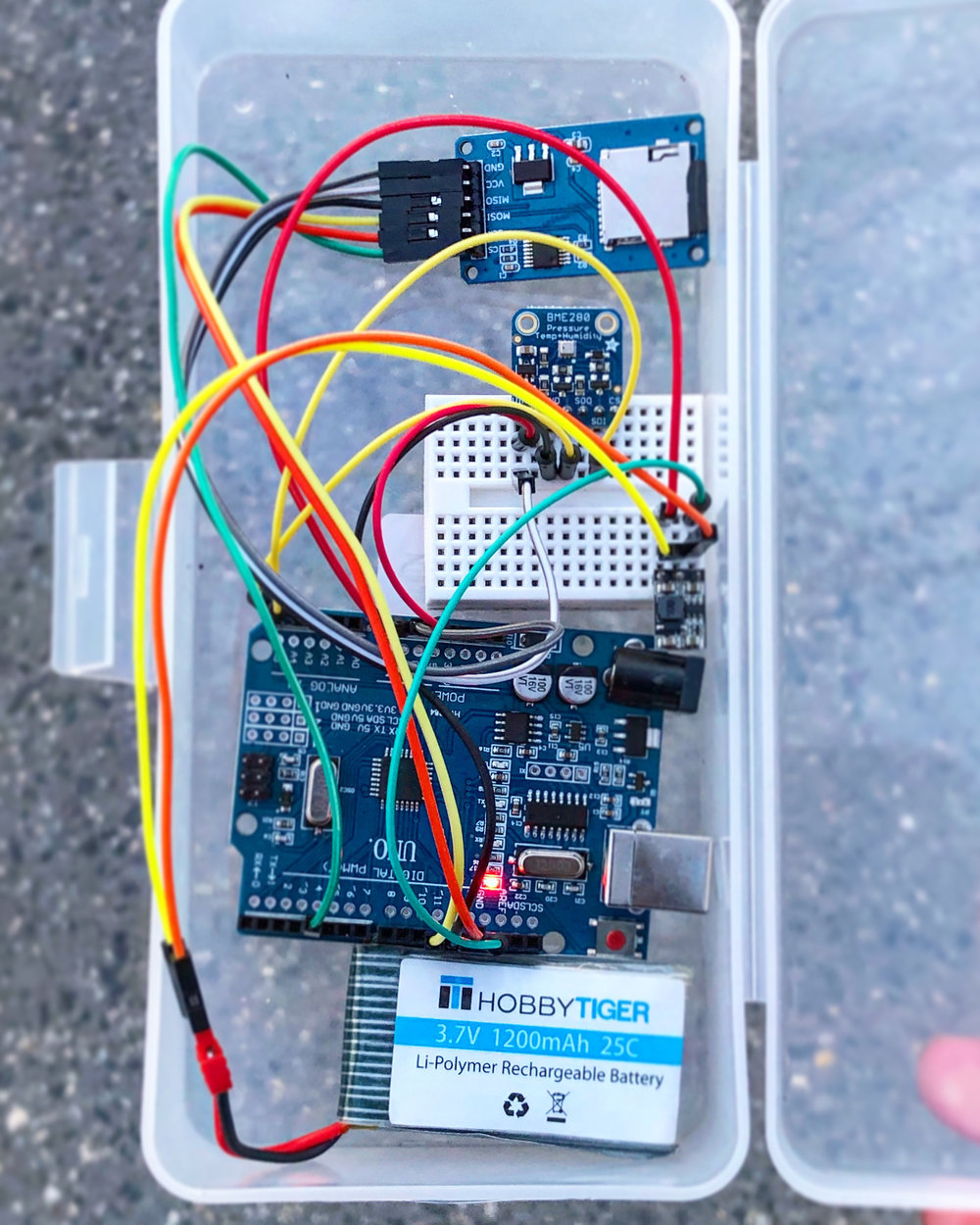 Arduino Datalogging Setup with LiPo Battery and SD Module -