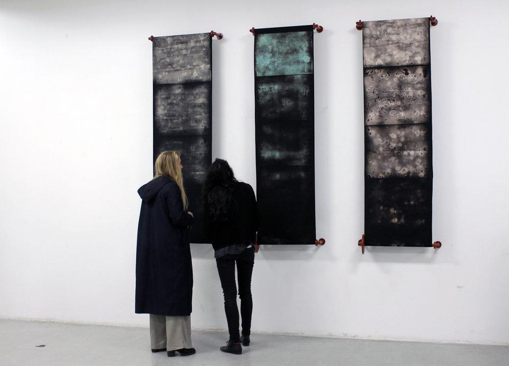 Laura A Dima - What's inside the black 2 - Fabric, bleach, wood.