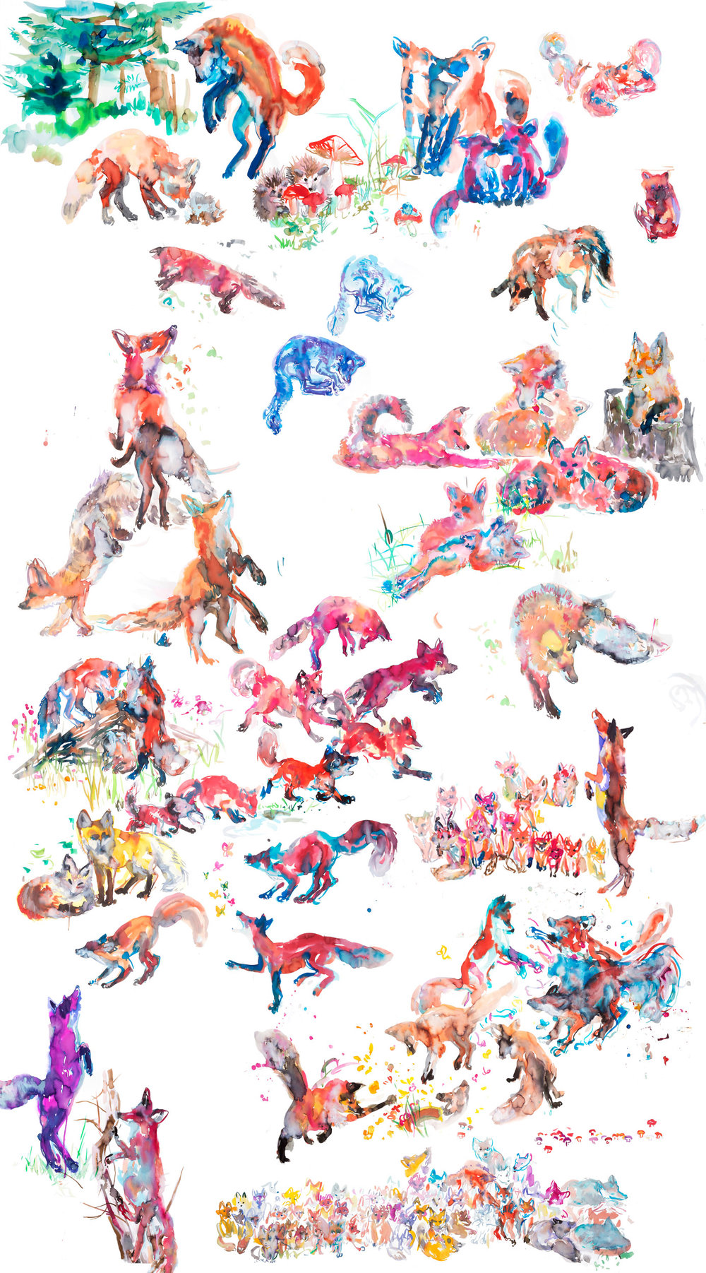Foxes Mural - ARTWORK DETAILS:Fine Art print of original watercolor painting.Limited editionWidth: 111 cm (approx 44