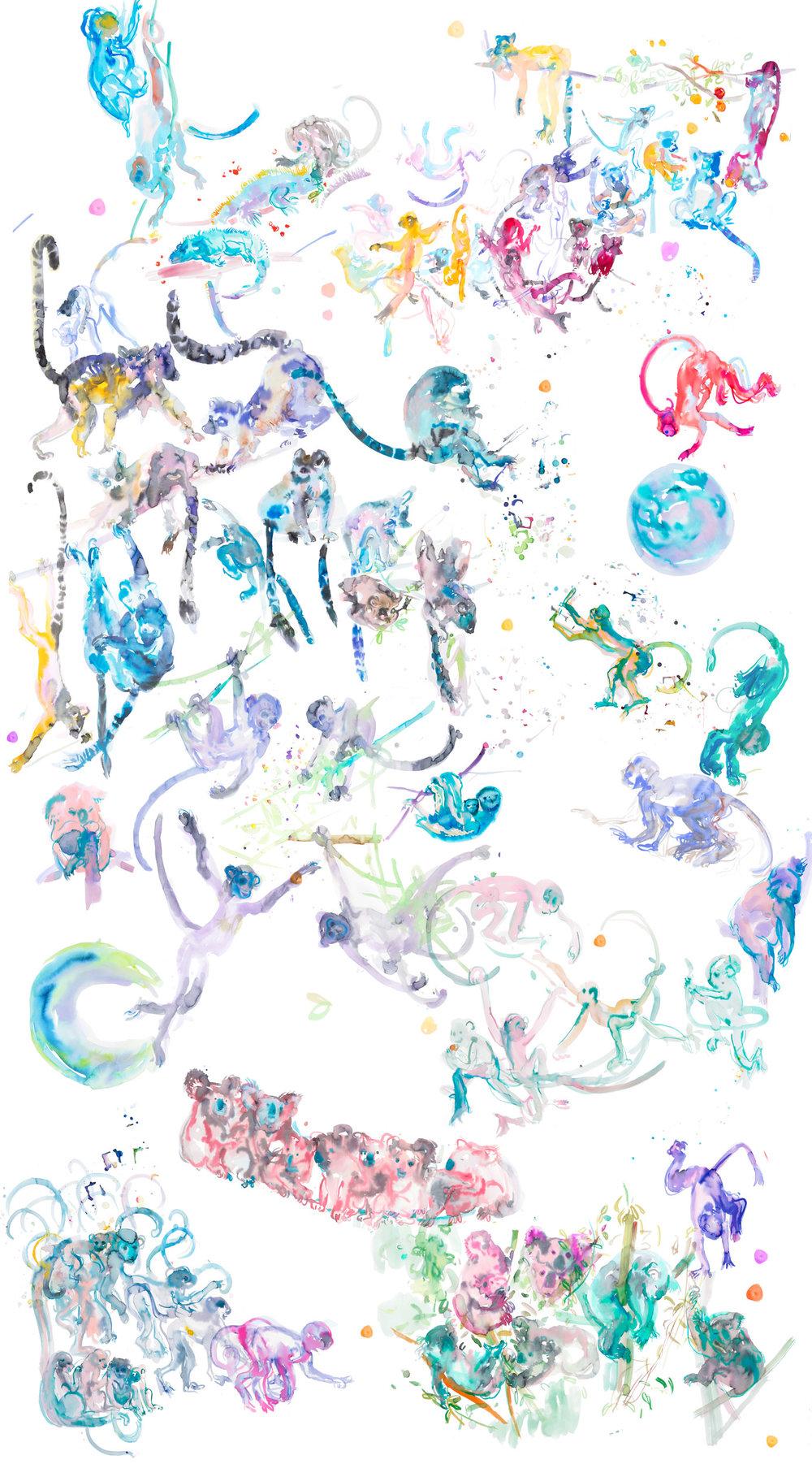 JungleMural - ARTWORK DETAILS:ARTWORK DETAILS:Fine Art print of original watercolor painting.Limited editionWidth: 111 cm (approx 44