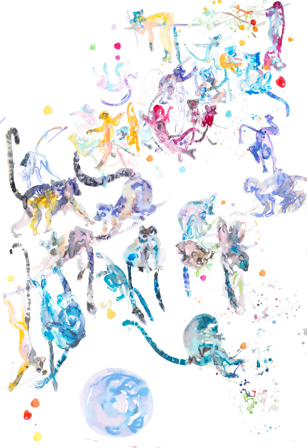 jungletableau a - ARTWORK DETAILS:Fine Art print of original watercolor painting.Limited editionWidth: 68 cm (approx 27