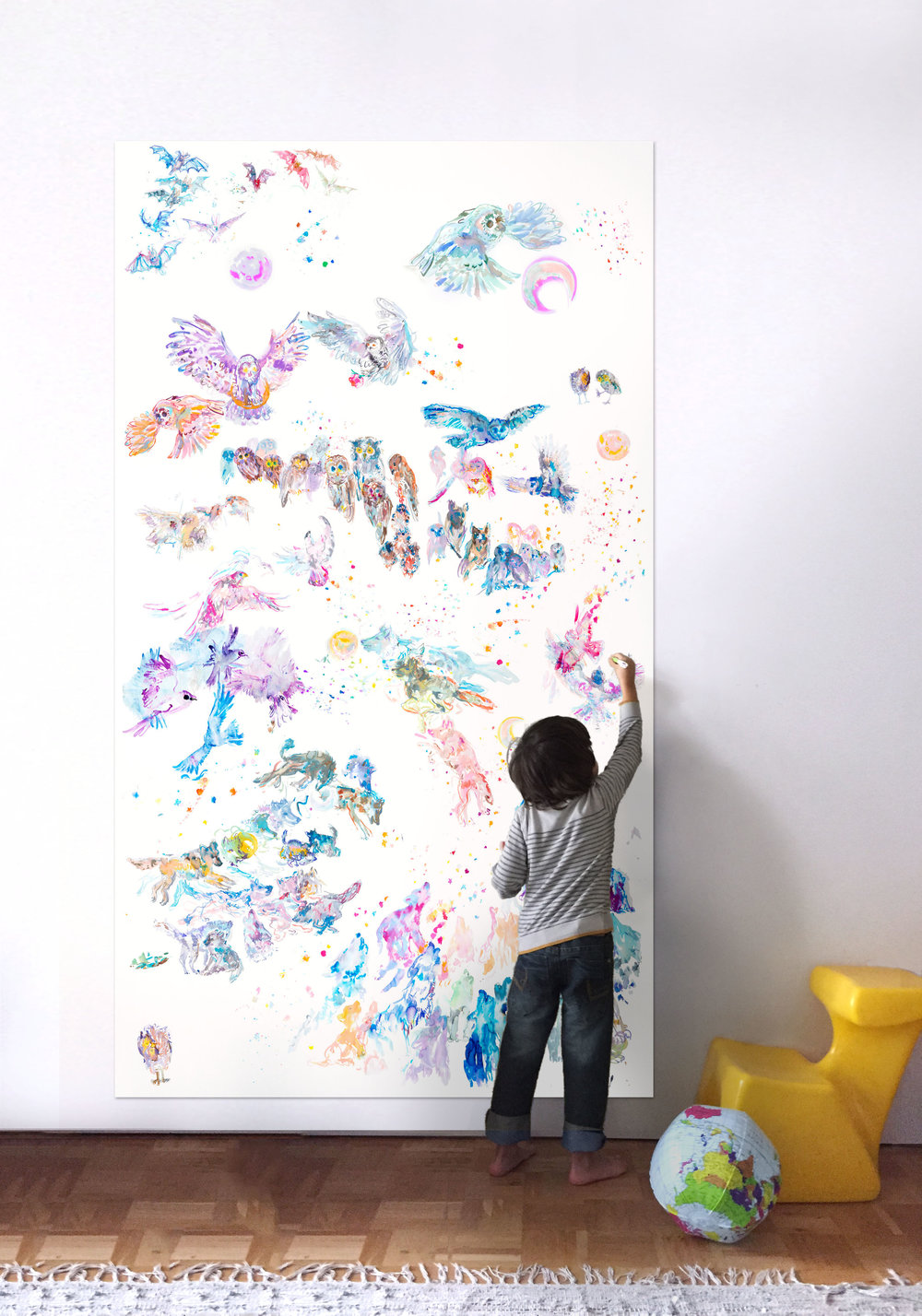 child drawing by howling mural wall art