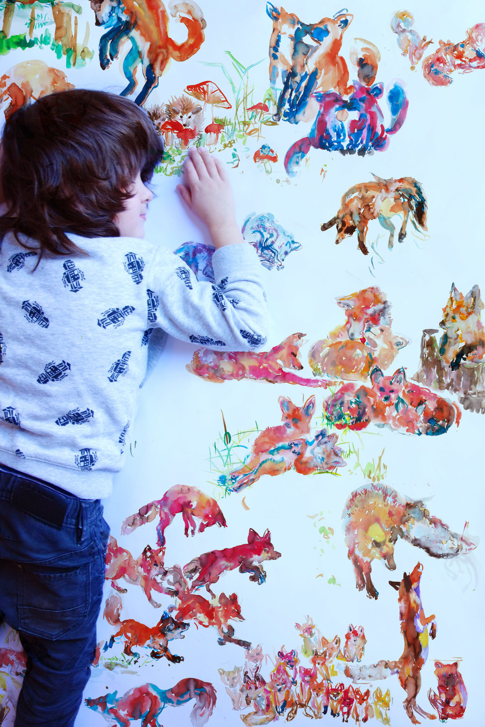 foxes wall art detail