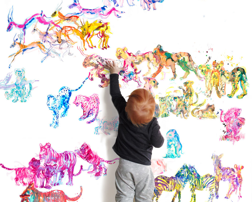 Wild things.. - The Savannah: an idyllic setting where giraffes, antelopes, zebras and big cats roam the same grasslands under a wide, cloudless sky. These beasts differ in temperament, brawn, and resilience yet in this mural they frolic together, their technicolor hues dazzle in the hot sun and thrill any child (or adult!) who believes in the wonders of nature.