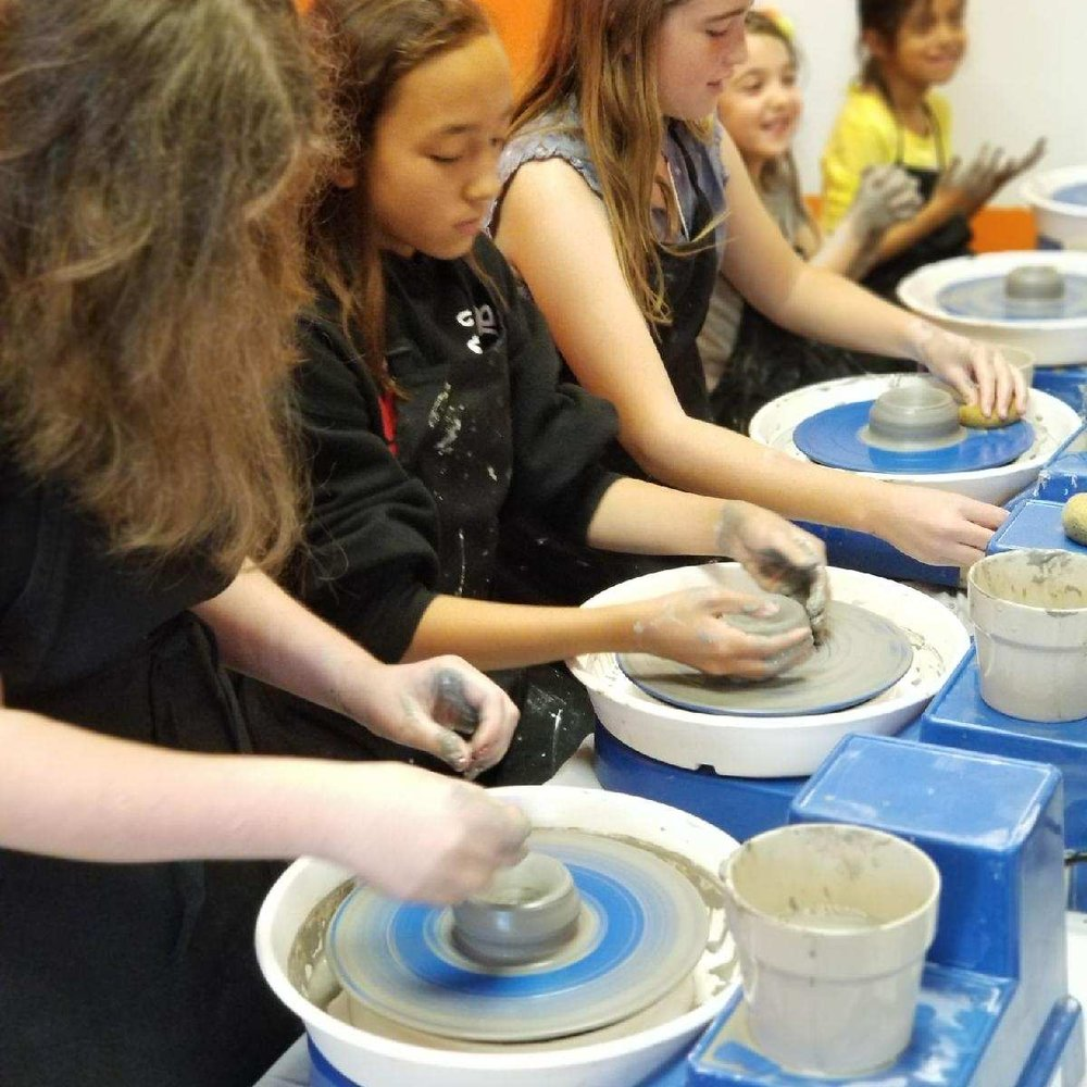 Create your very own clay project! Learn to throw clay and create a small bowl or plate. Return to learn how to clean your piece before firing! Optional to paint and fire for only $6 after the first firing.   $25 per child, space is limited to three people per session.