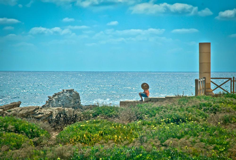 Sunning by the Mediterranean  Caesarea, Israel