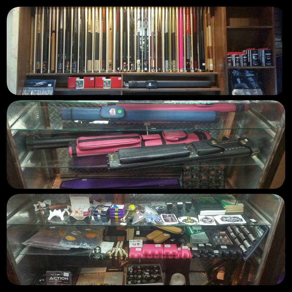Billiard Pro Shop - We have many cues to choose from.  Also some great accessories like gloves, new and used balls, racks and chalk holders.  A 1 stop shop for all your billiards need whether its at home or for your business.