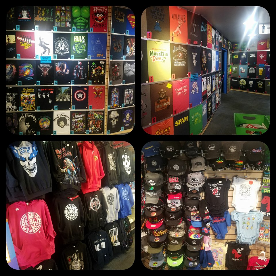 T-shirts, sweatshirts, and more! - With over 1000 designs on hand, we got a little bit of everything.  Music, funny, tv shows and movies.  You won't find this selection anywhere else!
