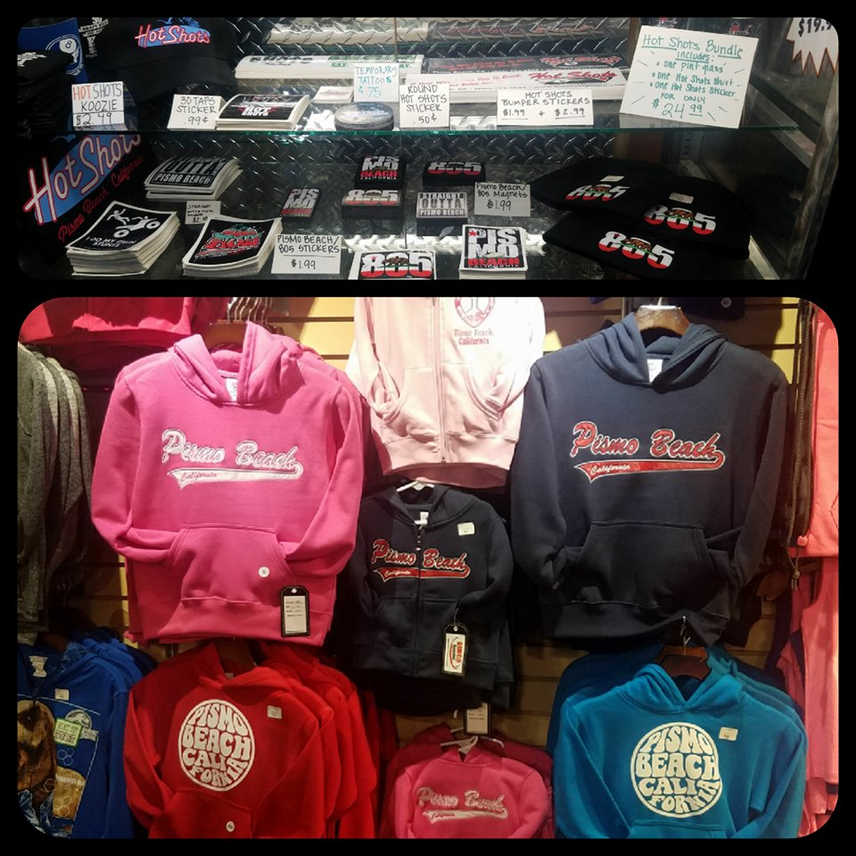 Pismo Beach Souvenirs - We have a wide range of unique Pismo Beach souvenirs including sweatshirts, t-shirts stickers, patches and glassware.