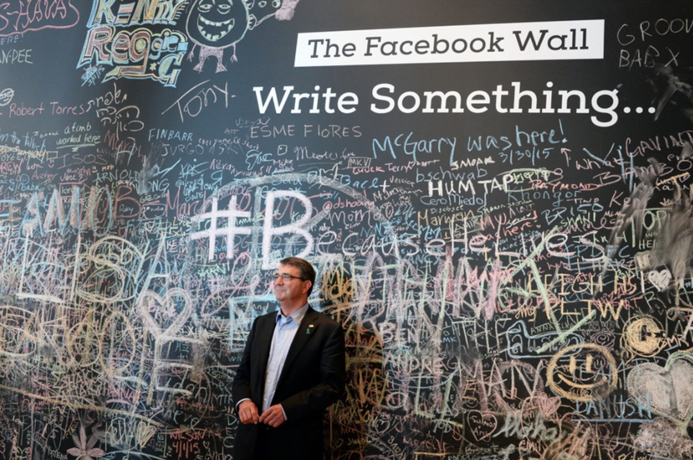 Defense Secretary Ashton Carter at Facebook headquarters (23 April, 2015). DoD Photo: U.S. Army Sgt. 1st Class Clydell Kinchen