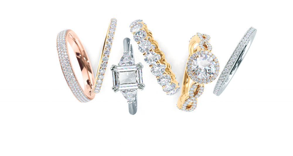 Ada Diamonds bridal collection pieces featuring engagement rings and wedding bands made with lab grown diamonds