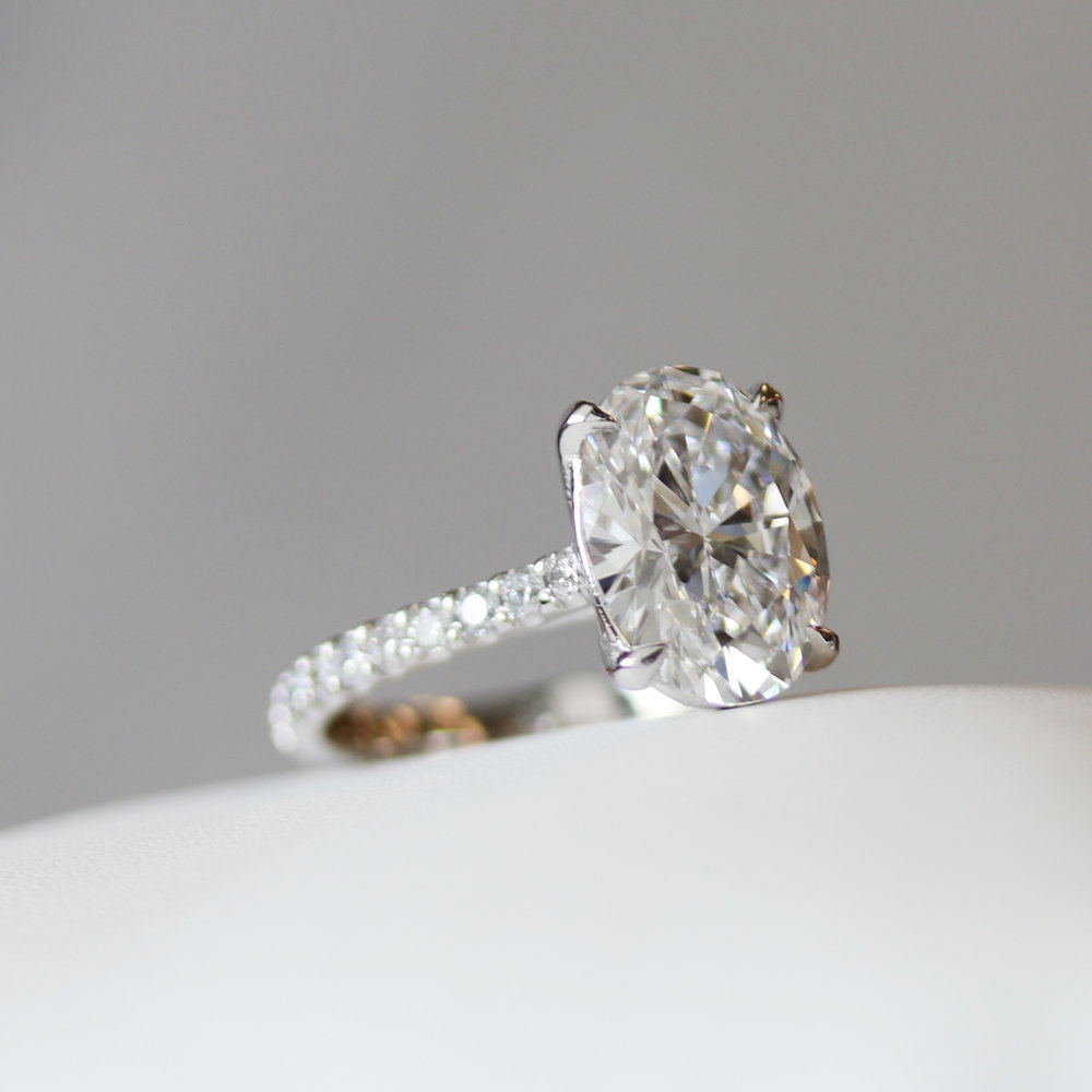 3 carat lab grown oval diamond engagement ring by Ada Diamonds