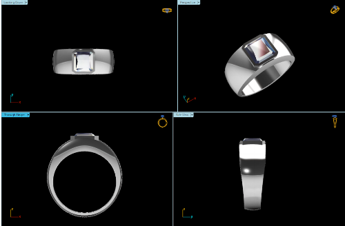 CAD Rendering of the Men's Bezel Set Ring