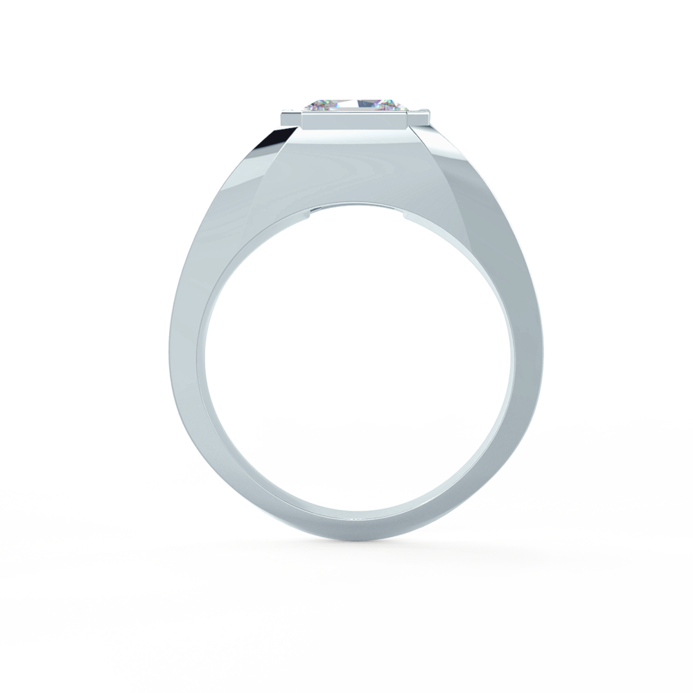 Men's Bezel Set Ring in Platinum Side View