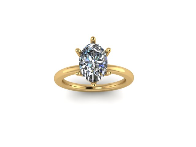 Six Prong Oval Rendering Engagement Ring