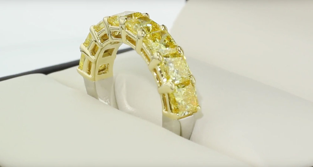 fancy yellow lab grown diamond half eternity band