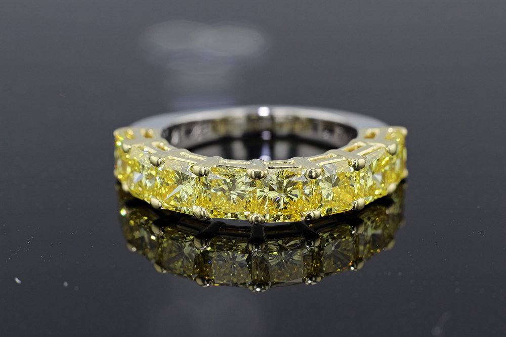 basket set lab grown diamond half eternity band