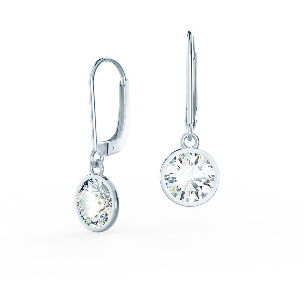 white gold single bezel lab diamond drop earrings
