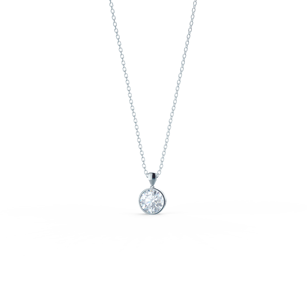 white gold lab diamond bezel set necklace