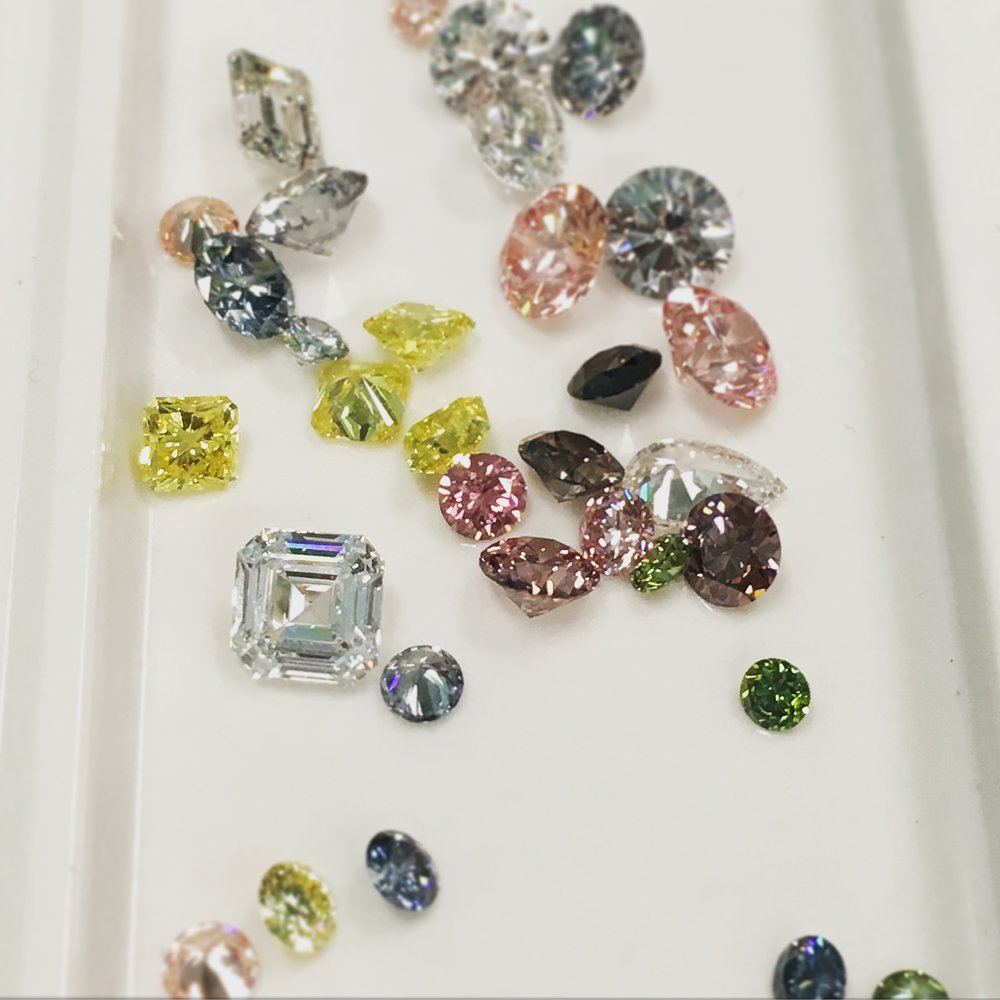 Fancy colored lab grown diamonds in all shapes and sizes