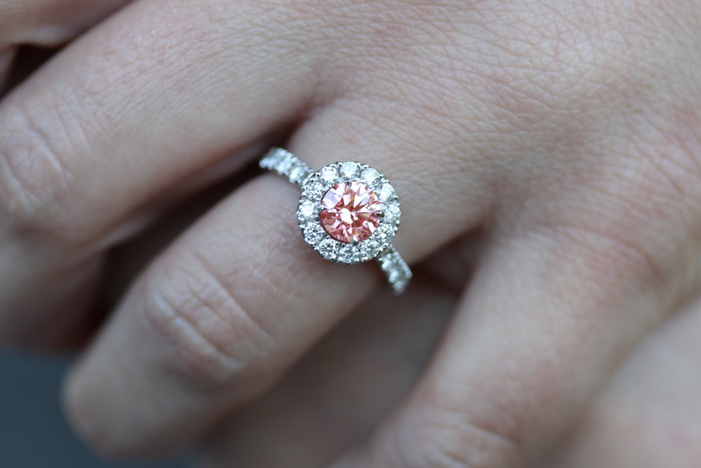 Top of The World Setting from Ada's Bridal Collection featuring a fancy pink lab grown diamond center stone