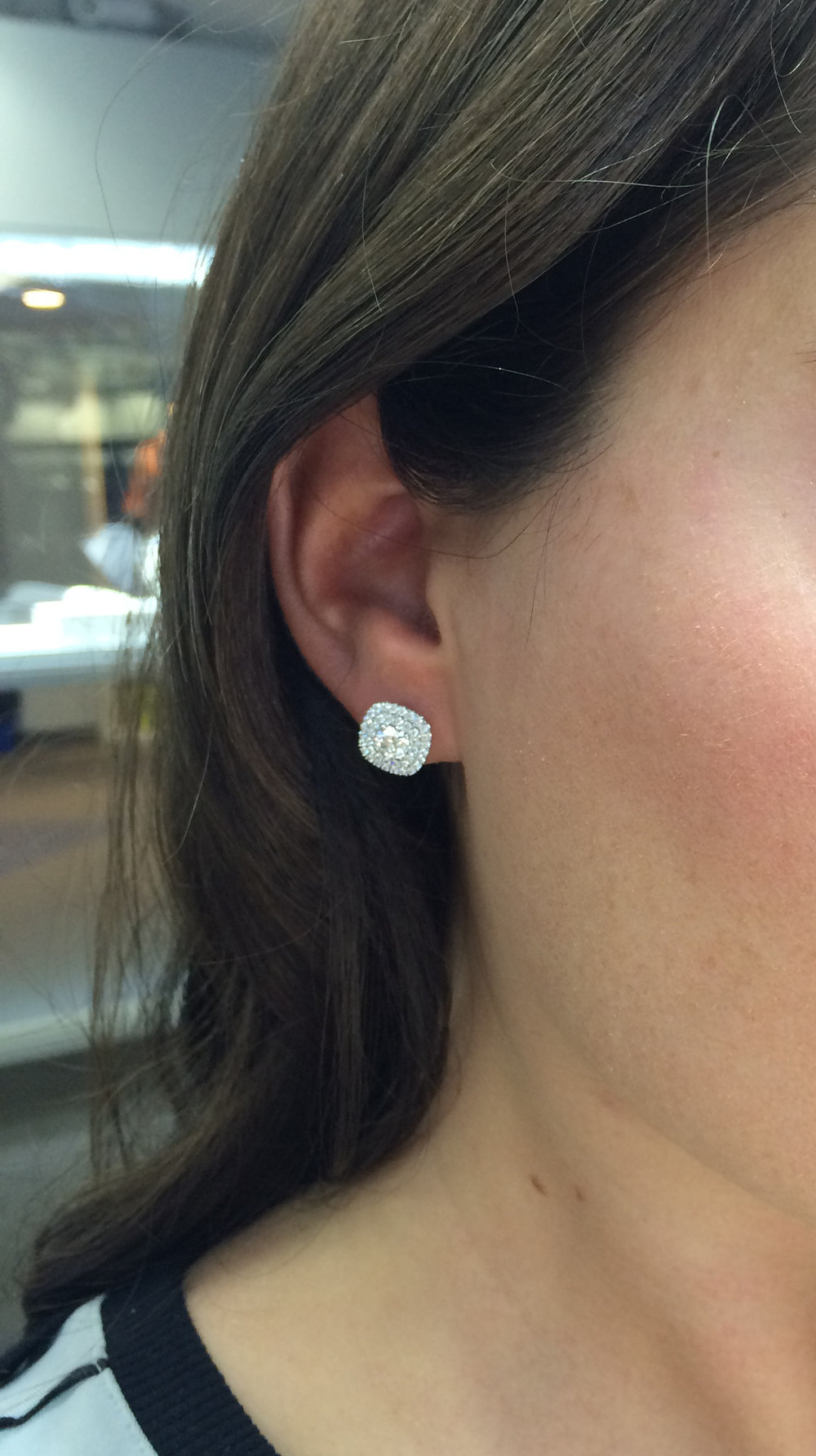 Custom Double Halo Lab Created Diamond Earring Jackets on Model
