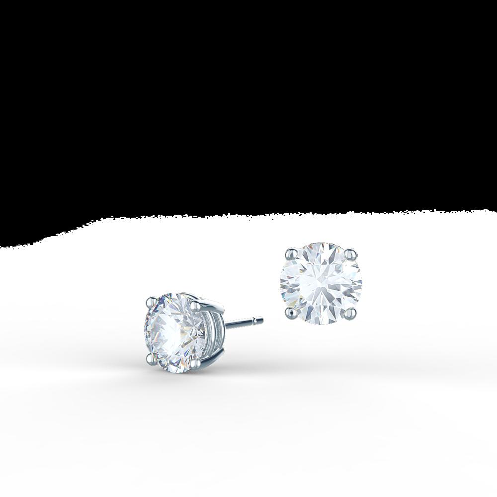 Classic Round Brilliant Lab Created Diamond Stud Earrings in Platinum
