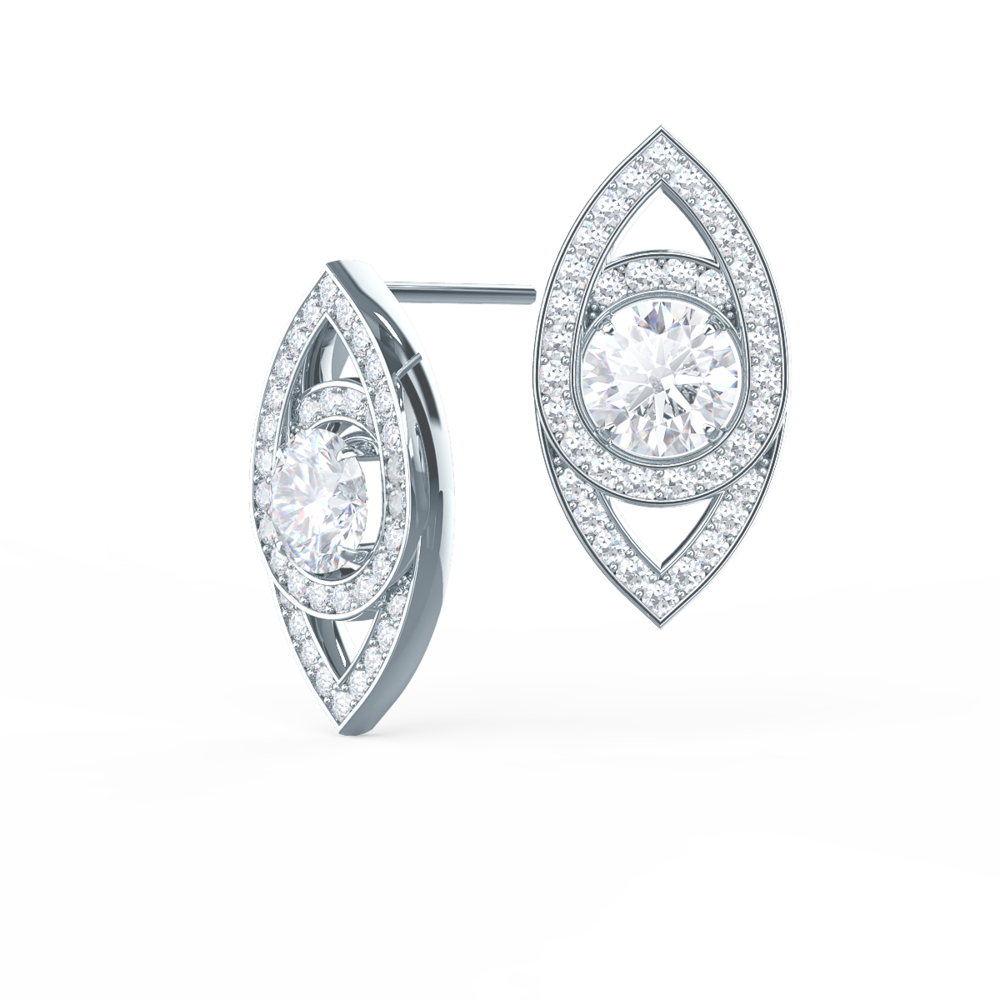 Custom Marquise Eye Lab Created Diamond Studs in Platinum Design-020