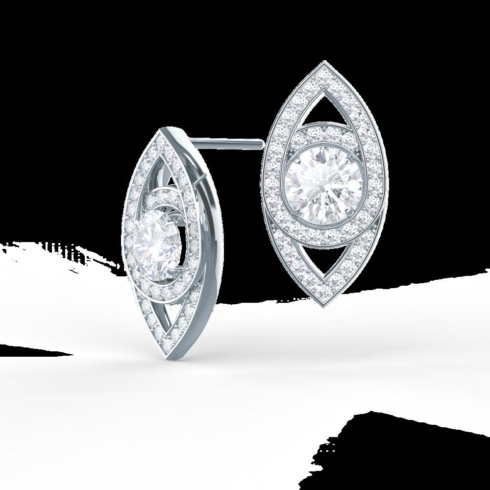 Custom Marquise Eye Lab Created Diamond Studs in Platinum Design-020