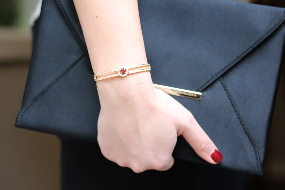 Red lab grown diamond bracelet