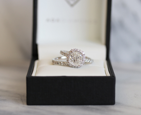 Cushion Halo Lab Diamond Engagement Ring
