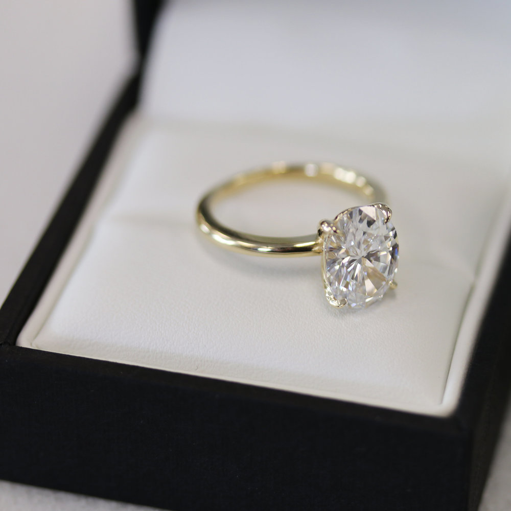 Lab Grown Oval Diamond Engagement Ring Yellow Gold